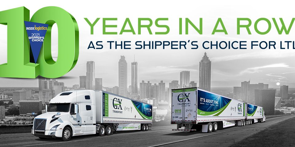 10 years in a row as the Shipper's Choice for LTL